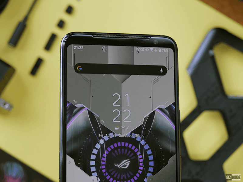 The front-facing camera on the top bezel