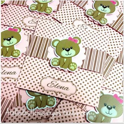convite artesanal personalizado aniversário infantil urso ursinho ursinha poá marrom rosa bolinha menina 1 aninho