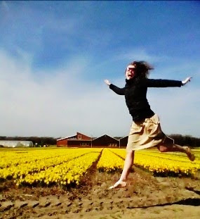 jumping in a field
