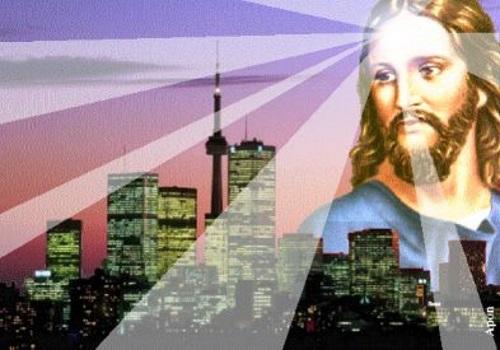 Jesus irradiando luzes sobre a cidade. #PraCegoVer