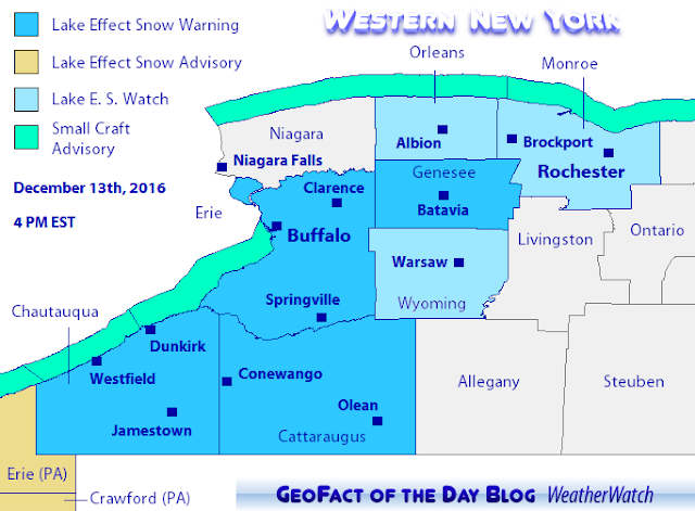 Lake effect snow warnings for Cattaraugas, Chautauqua, Erie, and Genesee counties in western New York