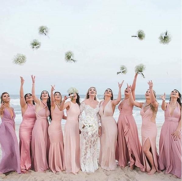 madrinhas rosa casamento na praia