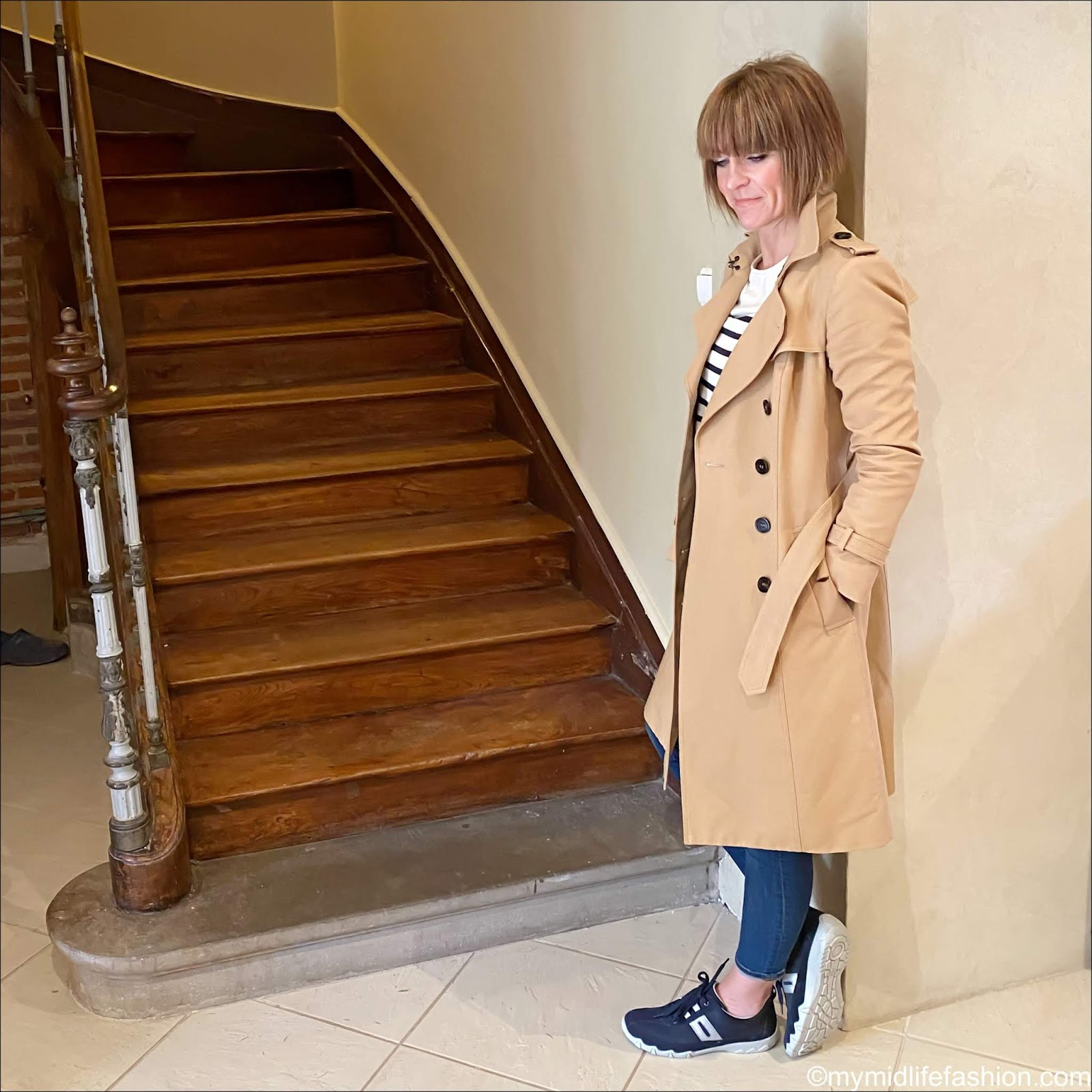 my midlife fashion, Burberry trench coat, sezane Breton loin top, j crew 8 inch toothpick jeans, hotter leanne trainers, Gucci double GG logo belt