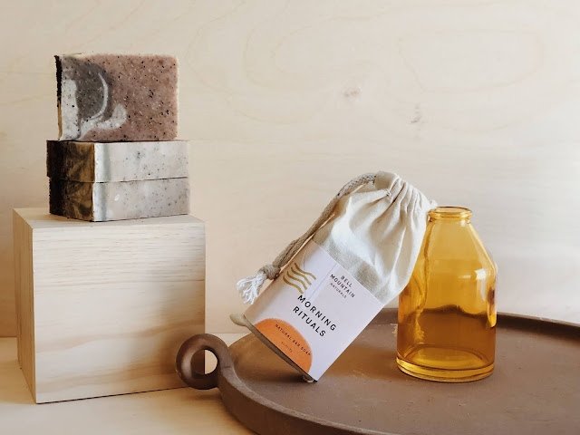 Bell Mountain Naturals all natural handmade soaps packaged in a muslin drawstring bag
