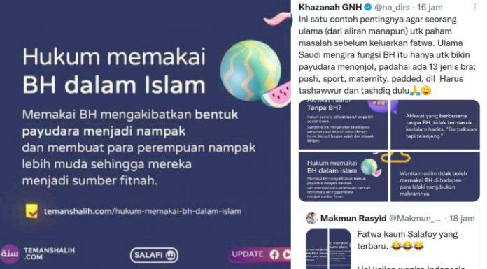 Heboh Postingan Akun Salafi Wanita Dilarang Pakai BH: Membuat Bagian Dada Menonjol dan Jadi Penyebab Fitnah