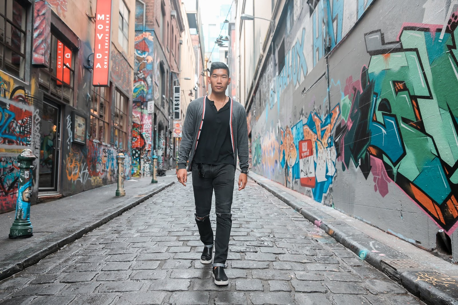 Leo Chan at Hosier Lane in Melbourne, Travel Guide