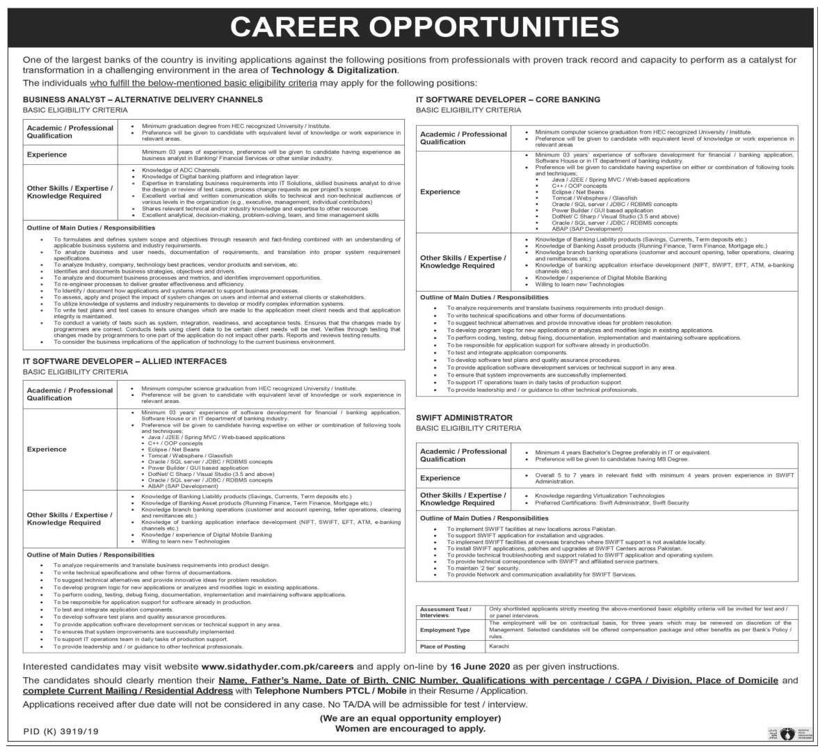 Business Analyst & IT Software Developer Jobs 2020