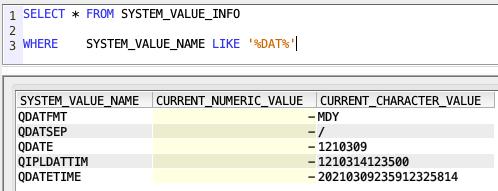 Retrieve System Values from SQL - IBM i