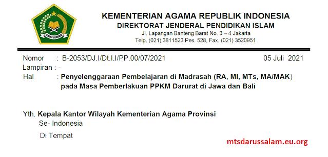 Penyelenggaraan Pembelajaran di Madrasah (RA, MI, MTs, MA/MAK) pada Masa Pemberlakuan PPKM Darurat di Jawa dan Bali