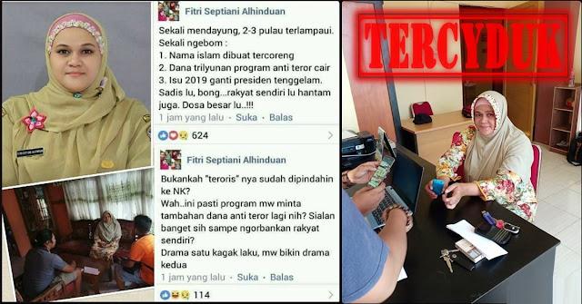 Sebut Aksi Teror Gereja di Surabaya hanya Settingan, Kepsek Fitri Septiani Diciduk Polisi