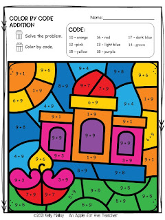 Diwali Color by Number Addition colored