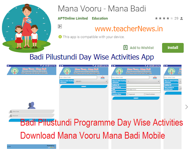 Badi Pilustundi Programme Day Wise Activities 2018 – Download Mana Vooru Mana Badi Mobile
