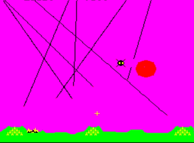 Screenshot from Level 13 of Missile Command 1980 showing missiles and a single city.