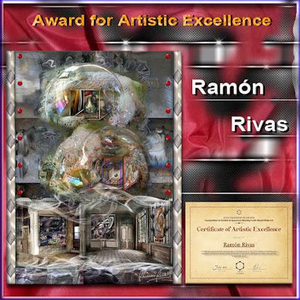 """La obra """"Art Station"""" de Ramón Rivas, junto al Certificado del  Premio de Excelencia Artística"""