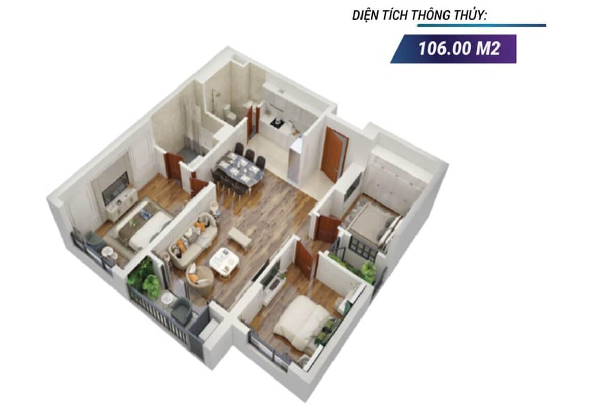 Mặt bằng 3D căn hộ 01 tòa Sapphire 2