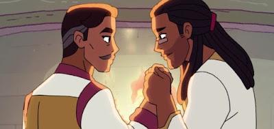 George (à esq.) e Lance são os pais do Arqueiro, um dos protagonistas da nova She-Ra
