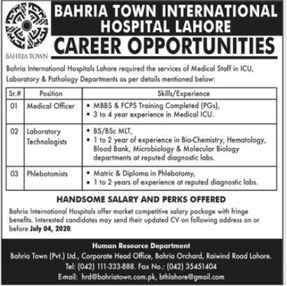 Bahria Town International Hospital Lahore Jobs