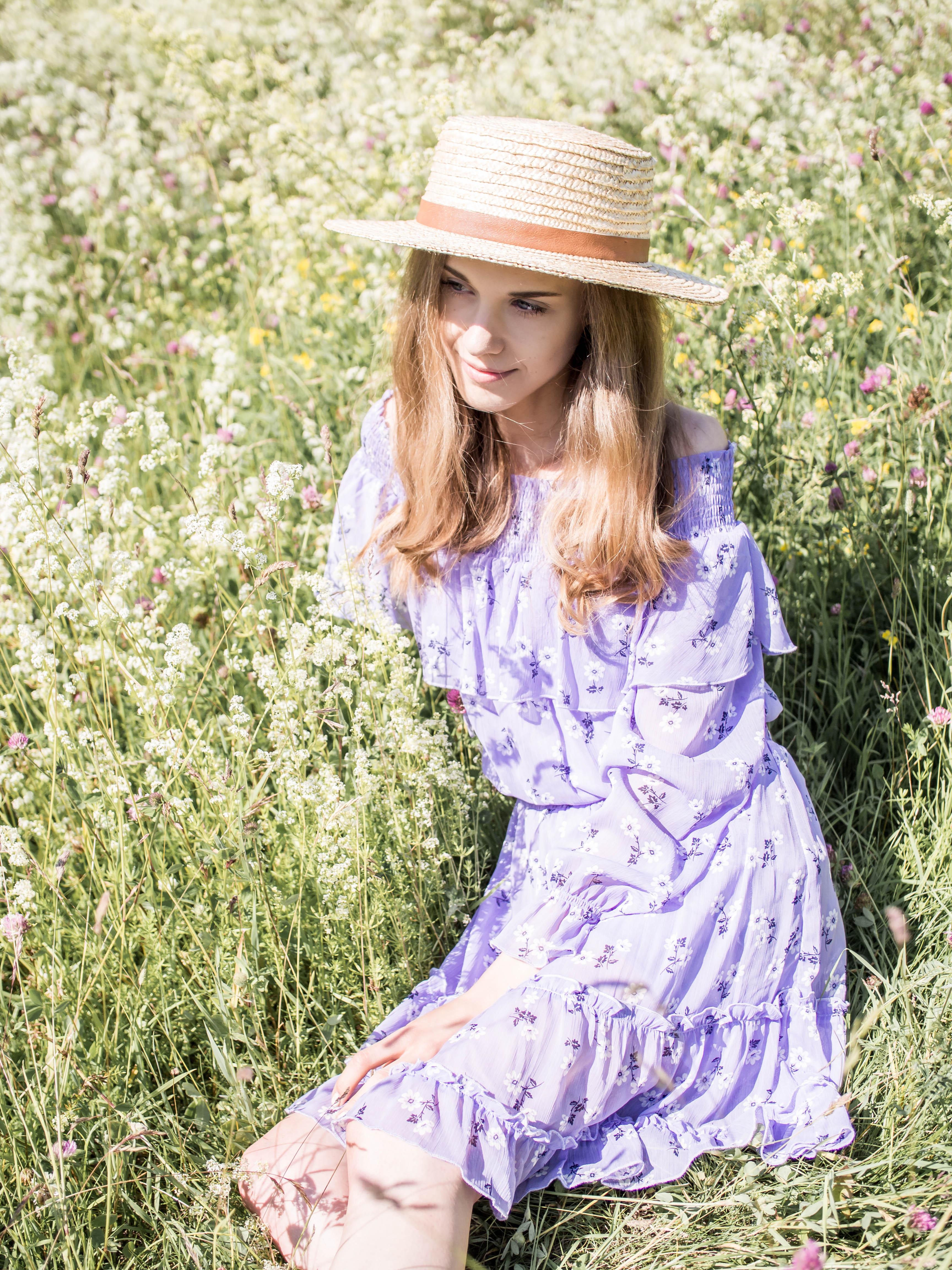 Lavender floral dress - Laventeli kukkamekko