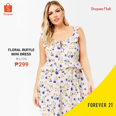 Ruffle Floral Mini Dress Forever 21 on Shopee