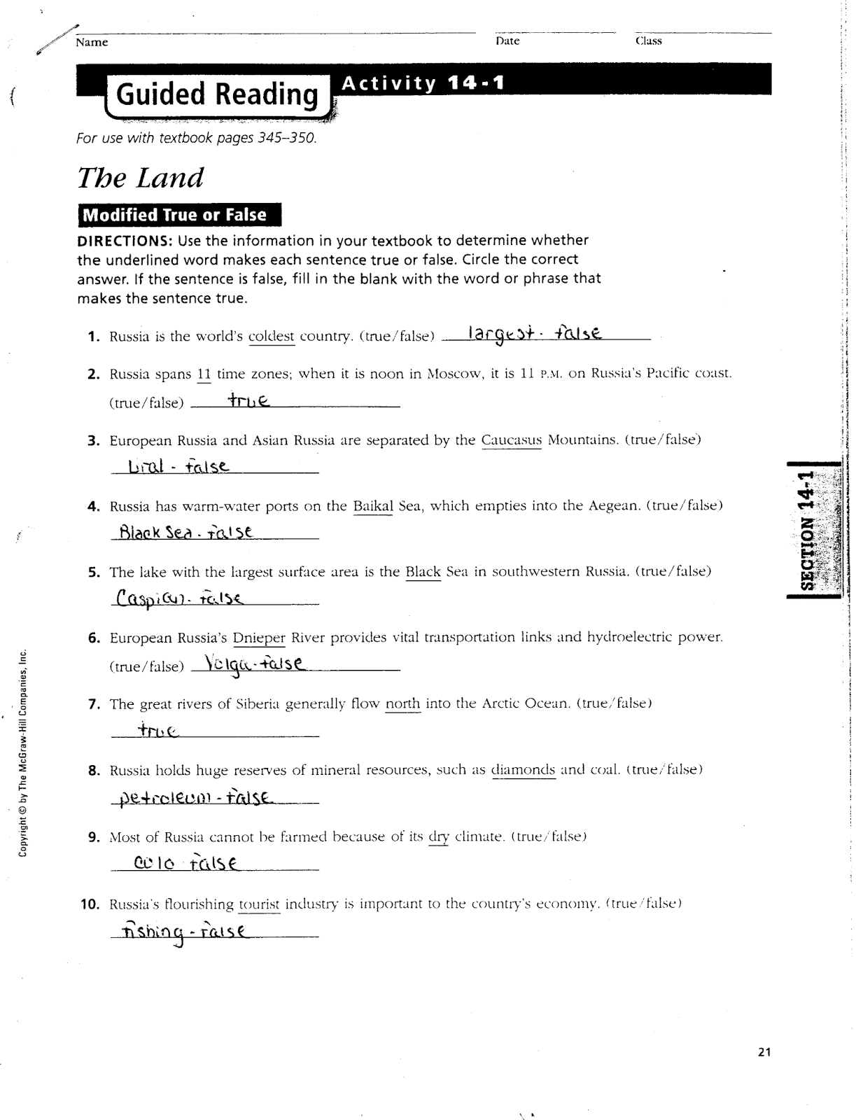 Mr E S World Geography Page Chapter 14