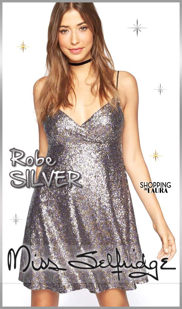 Robe courte du soir pailletée silver MISS SELFRIDGE