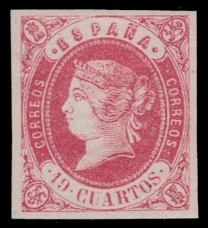 "SPAIN 58 (Mi52) - Queen Isabella II ""1862 on Lilac Paper"""