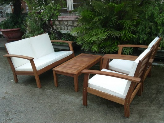 Max Furniture Max Furniture Closeout 4pc Sopha Outdoor Wood Seating Set By Azzuro Living