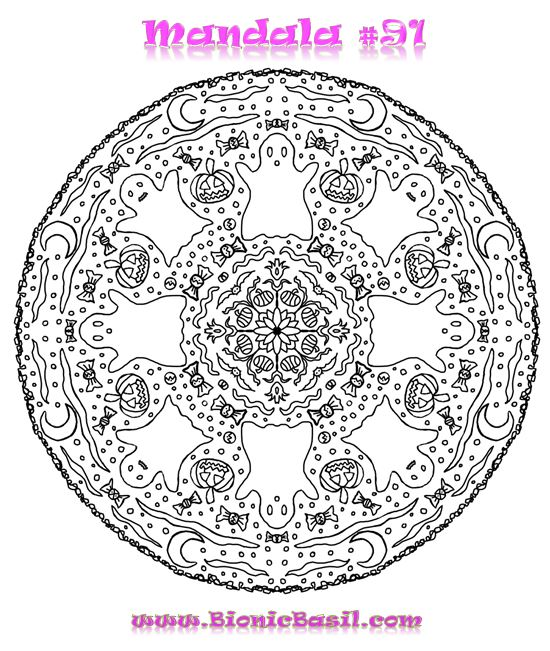 Mandalas on Monday ©BionicBasil® Colouring With Cats #91 Downloadable Image
