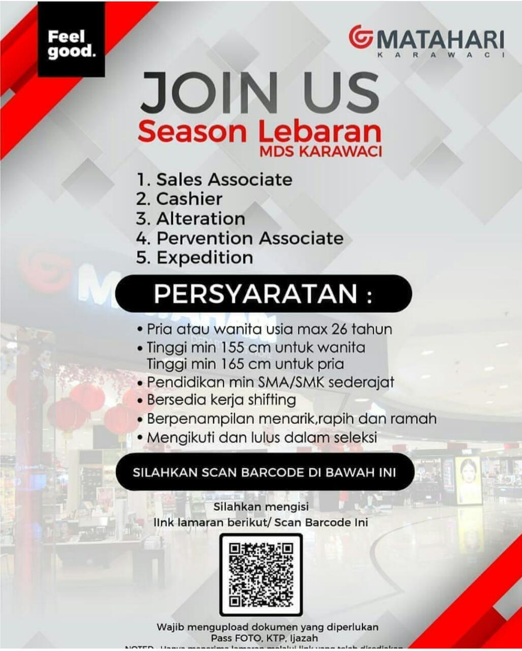 Lowongan Kerja Creer Matahari Department Store Penempatan Karawaci Ciputra Tangerang Loker Serang Banten