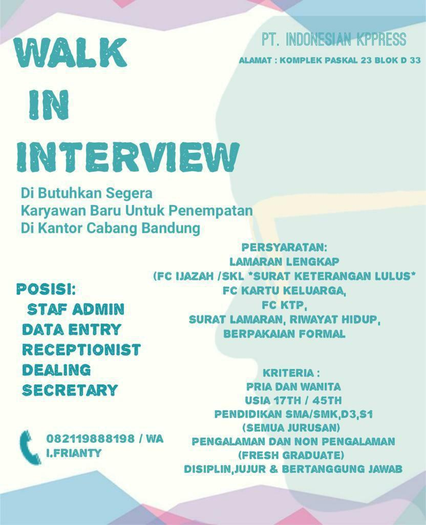 Lowongan Kerja PT. Indonesia Kppress Bandung Oktober 2019