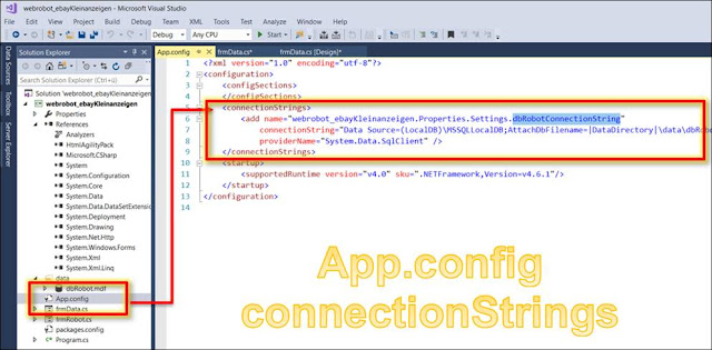 c# app.config connectionstring şifreleme