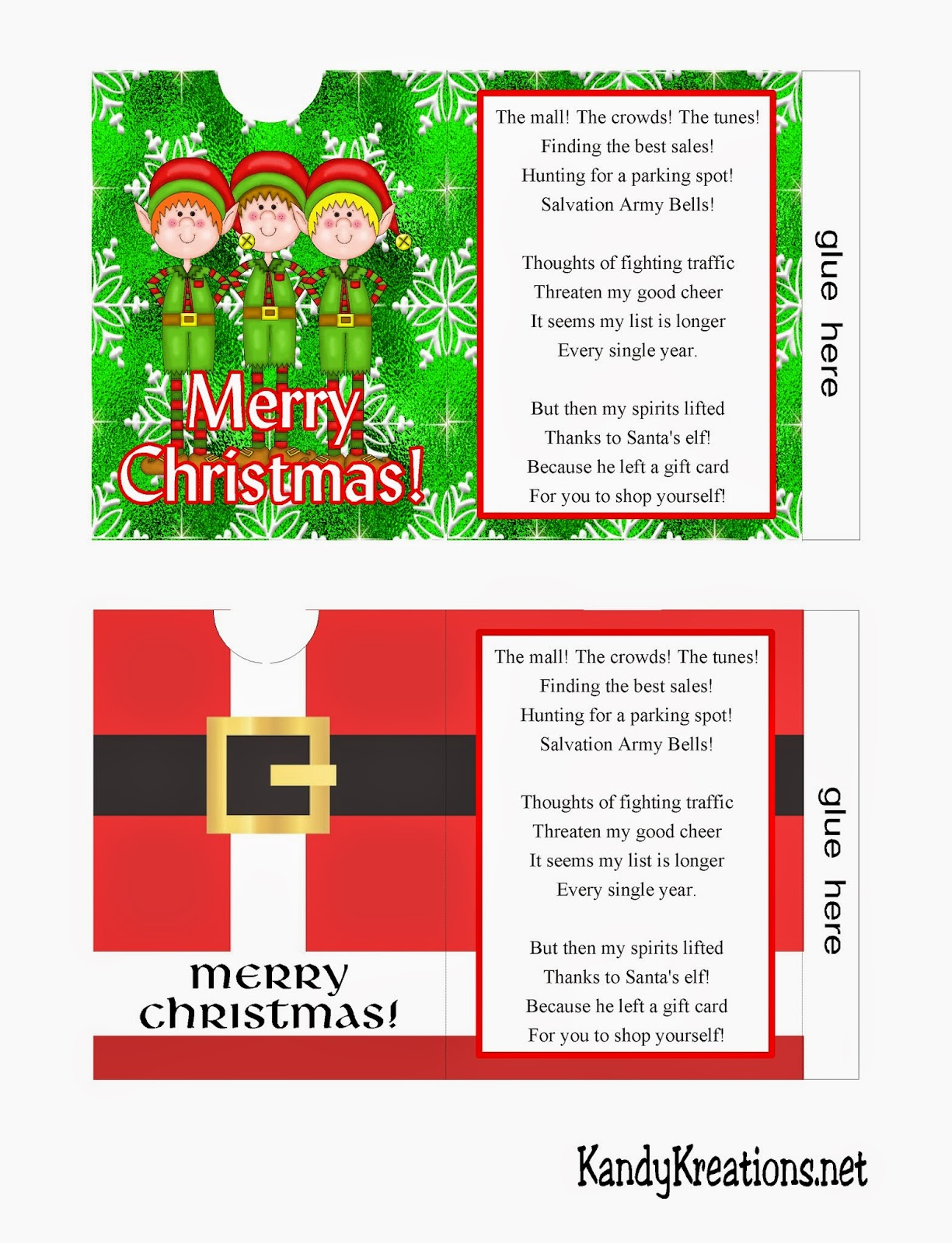 Everyone loves to receive gift cards at Christmas, but they aren't much fun to give.  Solve that problem with these cute Christmas gift card envelopes.  With this free printable you can print your own gift card envelopes with a cute Christmas poem and design so everyone will be happy!