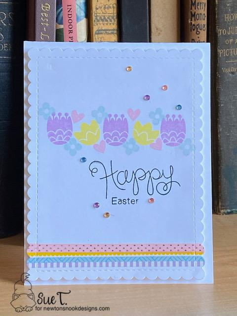 Happy Easter by Sue features Cottage Garden, Frames & Flags,and Simply Sentiment by Newton's Nook Designs; #newtonsnook