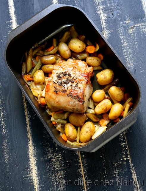 rôti porc,cuisine facile , cidre , légumes , reconfortante