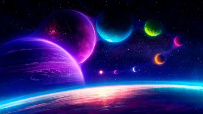 Tela de Fundo Planetas Coloridos