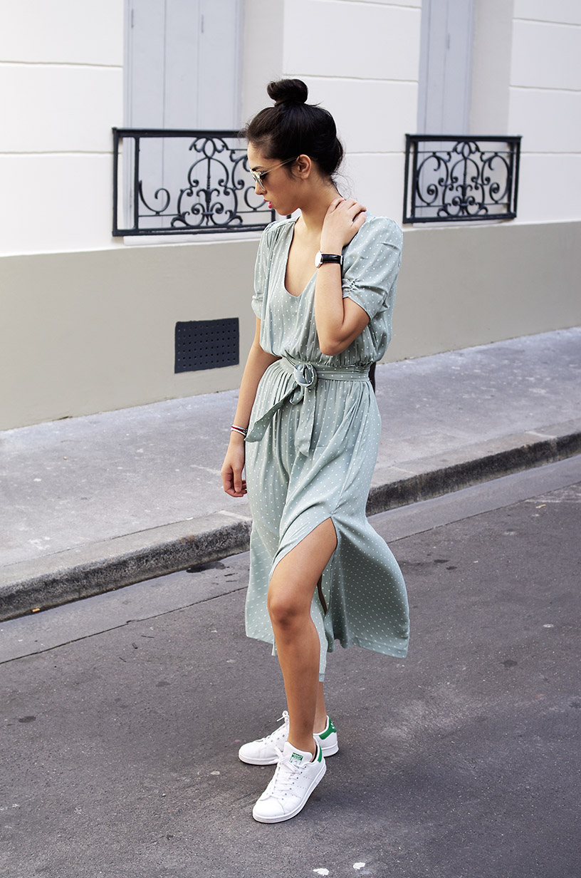 Elizabeth l Mint green summer dress outfit blog mode l H&M Adidas Quay Australia l THEDEETSONE l http://thedeetsone.blogspot.fr