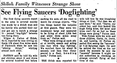 Family Sees Saucers Dogfighting - News-Journal (Mansfield, Ohio) 7-13-1953