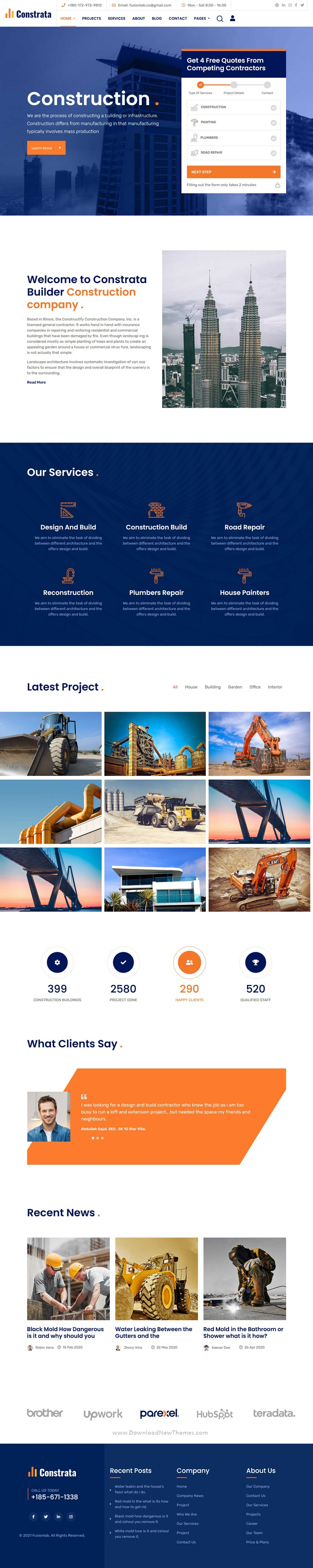 Construction and Renovation Bootstrap Template