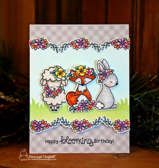 Spring animals card with flowers by Larissa Heskett | Woodland Spring Stamp Set and Land Borders Die Set by Newton's Nook Designs #newtonsnook #handmade
