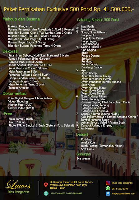 Paket Catering pernikahan 250 undangan dengan jumlah menu porsi makanan 500 pax