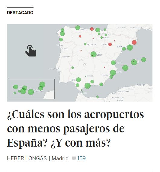 Mapa con titular: ¿Cuáles son los aeropuertos con menos pasajeros de España? ¿Y con más?