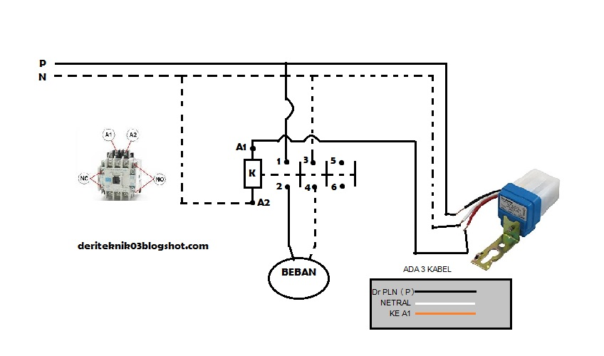 Instalasi Photo Cell Sensor Cahaya Dan Kontaktor Dengan Beban Lampu Taman Atau Lampu Jalan