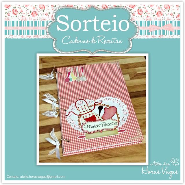 sorteio promoção participe brinde blog caderno de receitas artesanal scrapbook personalizado
