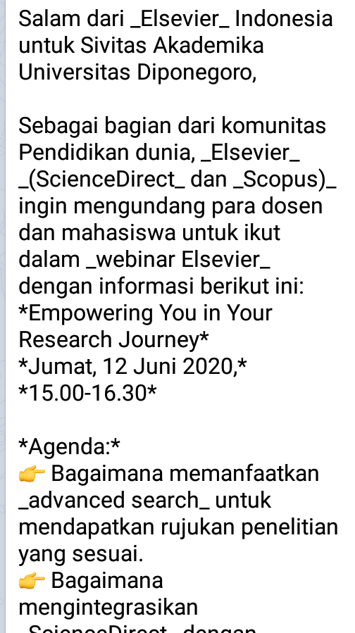 *Empowering You in Your Research Journey*  *Jumat, 12 Juni 2020,* *15.00-16.30*