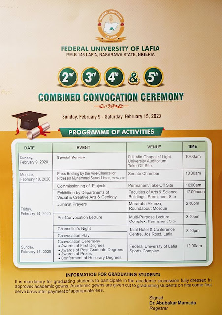 FULafia 2nd - 5th Convocation Ceremony Programme of Events 2019
