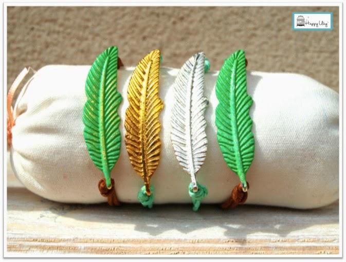 pulseras turquesa pluma happy uky handmade barcelona