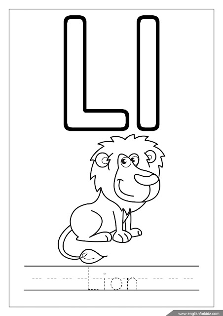 Alphabet coloring page, letter l coloring, l is for lion