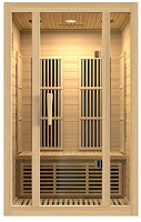 Maxxus Saunas MX-J206-01 Seattle  2-Person Carbon Far Infrared Sauna, features reviewed, made from natural reforested Canadian Hemlock wood, with clasp-together assembly, double-walls, 6 heating panels