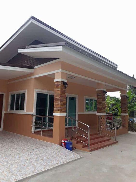 rumah minimalis tampak depan dengan batu alam