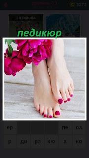 на женских ногах сделан педикюр красного цвета